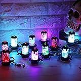 iBaste 4er Set Halloween Dekoration Licht Kerzenlicht Tischdeko mit Batterie 7cmx8.5cm Partydeko Laterne Beleuchtung - 5