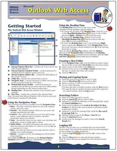 Microsoft Outlook Web Access in Exchange Server 2003 Quick Source Guide by Quick Source (2004) Paperback