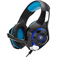 Gaming Headset, Headphone with Mic for Playstation 4 PS4 New Xbox One PC iOS iPad Phone Noise Cancelling Free Y Adapter Cable Black Blue