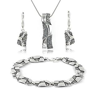 LillyMarie Damen Silber Schmuckset Design-Anhänger Oxidiert Längen-verstellbar Geschenkbox Geschenke für Frauen