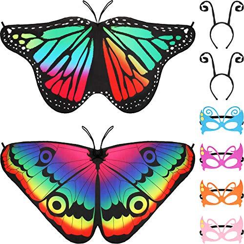 Gejoy 8 Stücke Kinder Schmetterling Kostüm, Enthalten Schmetterling Flügeln, Maskerade Masken und Antennen Stirnband für Halloween Ankleiden Party (Farbe Set (Schmetterling Flügel Kostüm Kinder)