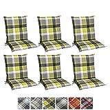 Beautissu 6er Set Sunny GR Niedriglehner Auflagen Set für Gartenstühle 100x50 cm in Grün Kariert...
