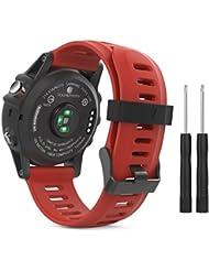 MoKo Garmin Fenix 3 / Fenix 5x Sport Watch Armband - Silikon Sportarmband Uhr Band Strap Ersatzarmband Uhrenarmband mit Werkzeug für Garmin Fenix 3 / Fenix 3 HR GPS Smart Watch, Rot