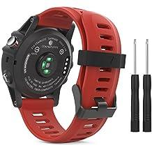 MoKo Garmin Fenix 3 Accesorios, Banda Reemplazo de Silicona Suave Deportiva con Herramientas para Garmin Fenix 3 / Fenix 3 HR Smart Watch - Rojo