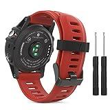 MoKo Armband für Garmin Fenix 3 / Fenix 5x Sport Watch - Silikon Sportarmband Uhr Band Strap Ersatzarmband Uhrenarmband mit Werkzeug für Garmin Fenix 3 / Fenix 3 HR GPS Smart Watch, Rot