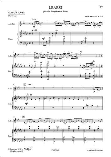 PARTITION CLASSIQUE - Learsi - P. SAINT-LEGER - Saxophone Alto et Piano