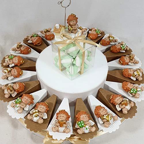 Torta Battesimo con Calamite bomboniere a Forma di Angelo: Offerta Stock Torta bomboniera - Torta 20 fette + 20 Angeli Magnete + Confetti + 1 Centrale