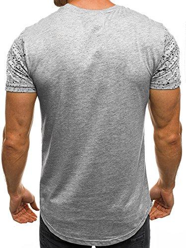 OZONEE Herren T-Shirt mit Motiv Kurzarm Rundhals Figurbetont J.STYLE SS101 Grau