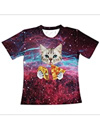 sxlb-Hombres Camiseta 3D Coloridos Gatos Impresos O-Cuello Manga Corta AlgodóN Tees,