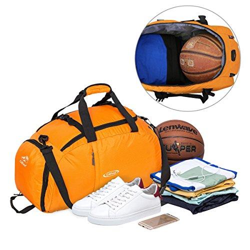 G4Free 3-Weg Travel Duffel Rucksack Gep?ck Gym Sporttasche mit Schuhfach Orange