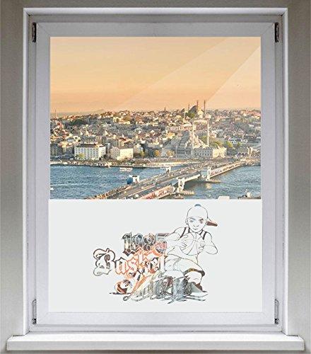 INDIGOS UG Sichtschutzfolie Glasdekorfolie Fensterfolie mit Motiv satiniert Blickdicht - E333 Jungen Basketball - 800 mm Länge - 500 mm Höhe - Viereck