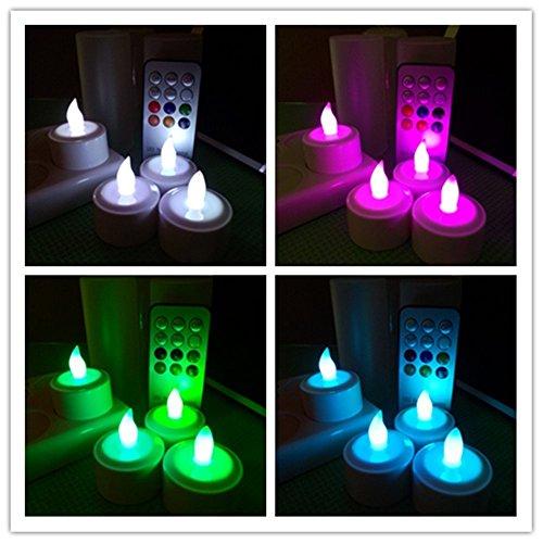LAPROBING LED nachladbare Flameless teelichtern mit mattierter Halter Cups und Fernbedienung (Satz von 4, Multi-Farbwechsel )