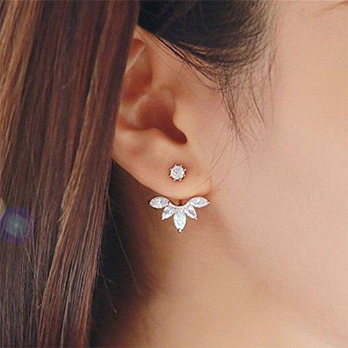 ILOVEDIY Maple Leaf Boucles doreilles Fantaisie a Vis Cristal Strass Generique Originales Accessoires Bijoux pour Fille Femme(Or+ Argent)