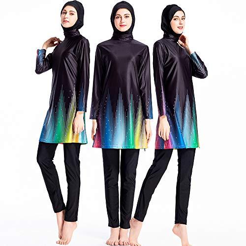 ziyimaoyi Frauen Plus Size Floral Muslim Bademode Islamischer Badeanzug Muslimah Schwimmen Surf Kostüm Burkini, XXL (Ganzkörper Schwimmen Kostüm)