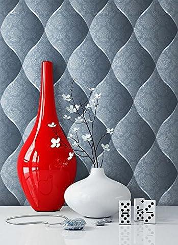 Tapete Edel Vinyl Blau , schönes Floral Design und purer Luxus Effekt , moderne 3D Optik für Wohnzimmer,Schlafzimmer,Flur oder Küche inkl. Newroom Tapezier Ratgeber mit Tipps für perfekteWände