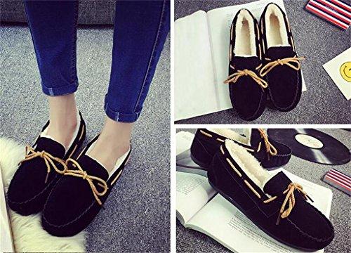 ALUK- Version coréenne de l'automne chaude et l'hiver ainsi que des chaussures plates de velours ( couleur : Violet , taille : 39 ) Noir