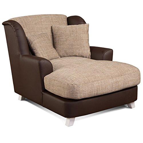 CAVADORE XXL-Sessel Assado/Zweifarbiger Polstersessel in cappucino/dunkelbraun mit Holzfüßen, großer Sitzfläche, Polsterung und 2 weichen Zierkissen/109x104x145 (BxHxT) (Sessel Dunkelbraun)