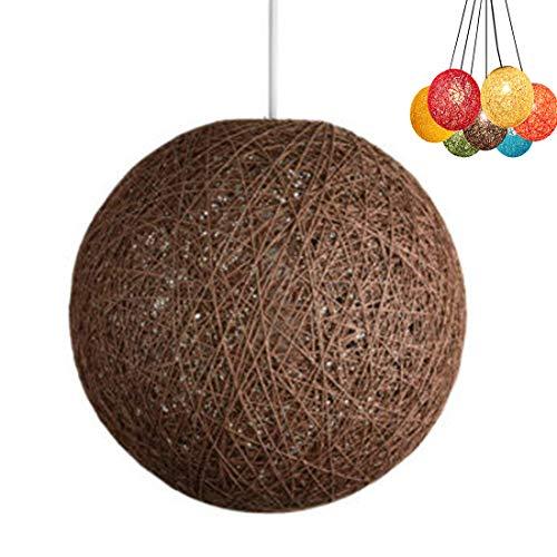 ✨Modern celosía mimbre Rattan globo bola estilo techo colgante luz pantalla creativa personalidad bar, cafetería, habitaciones, restaurante simple decoración iluminación (marrón, 23cm)