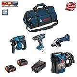 BOSCH Kit 18V PSL4M2BAG (GBH 18 V-EC + GSB 18-2-LI Plus + GWS 18-125 + GAS 18 V-10L + 2 x 4,0 Ah + AL1860CV + HDBAG)