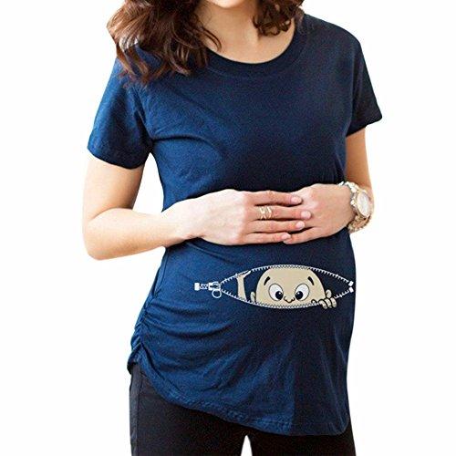 Schwangerschaft Mutterschaft T-shirt (MEIHAOWEI Baby Reißverschluss gedruckt T-Shirt Schwangerschaft schwanger Mutterschaft T-Shirts dunkelblau M)