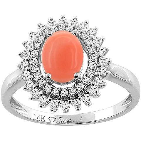 Revoni 14ct oro Coral Natural anillo de doble Halo Oval 8 x 6 mm acentos de diamante