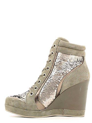 Fornarina PIFTB8997WGA Britt Sneaker, Scarpe alte con plateau in pizzo da donna Grigio (Brass 95)