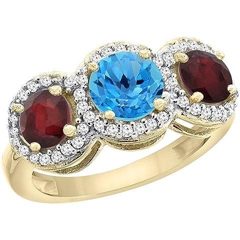 Revoni 9in oro giallo o bianco naturale topazio blu e diamanti Anello lati 3-Stone Rubino Enhanced accenti, taglia