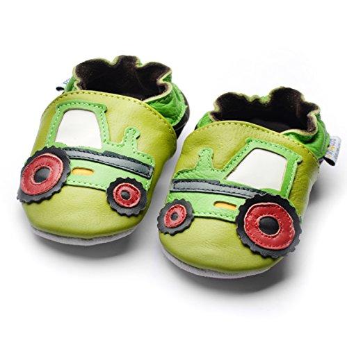 Jinwood designed by amsomo - Jungen - Maedchen - Hausschuhe - ECHT LEDER - Lederpuschen - Krabbelschuhe - soft sole / mini shoes div. Groeßen tractor green soft sole