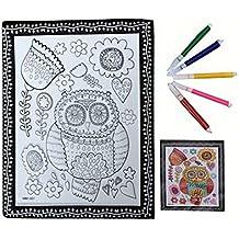 Fai da te per bambini Coloring Palette Tavolo da disegno concavo-convesso con penne [gufo]