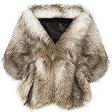 Coucoland Kunst Pelz Schal Damen Flauschig Faux Pelz Umschlagtuch Warm Kragen für Wintermantel 1920s Accessoires Gatsby Kostüm Zubehör (Kamel)