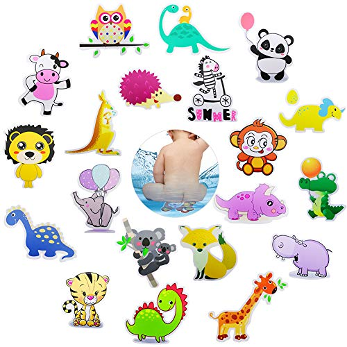 HANGNUO Antirutsch Aufkleber für Dusche Badewannen, Badewannenaufkleber, Karikatur Abziehbild für Kinder Badausstattung, Wasserdicht, selbstklebend (Zootier, 20 Stück) (Badewanne Abziehbilder)