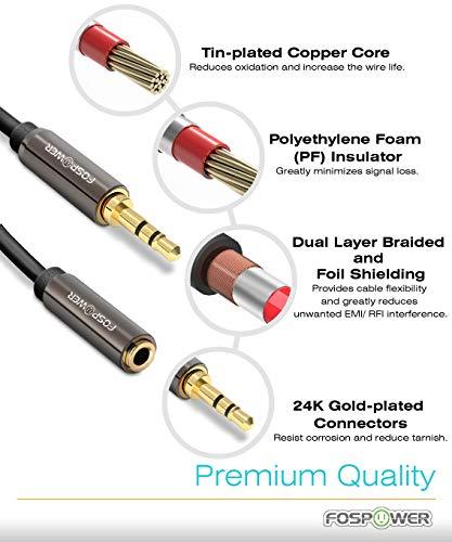 FosPower Stereo Audio Klinken Kabel Adapter Verlängerungskabel (0,9m) Verlängerung für AUX Eingänge 3.5mm Stecker auf 3,5 mm Buchse [Vergoldete Kontakte] für Audio iPhone, iPod, iPad, MP3-Player, Kopfhörer, Lautsprecher, Android Smartphones, Tablets – Schwarz - 2