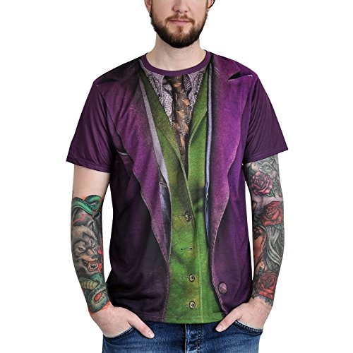 Close Up Batman – Camiseta Joker Traje con Alloverprint Morado Morado