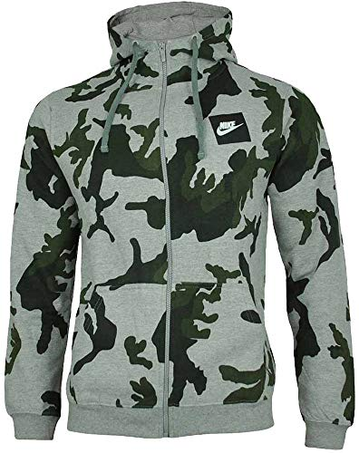 Nike Mens Camo Hoody Fleece Hooded Top AOP Club Zip Top Grey New AH7019 (Small) Camo-fleece-pullover