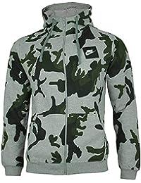 63a3b2cc4fa7 Nike Mens Camo Hoody Fleece Hooded Top AOP Club Zip Top Grey New AH7019