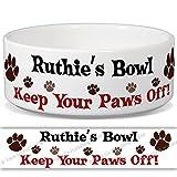Ruthie 's Schüssel–Keep Your Paws Off. Personalisiert Name Keramik Pet Futternapf–2Größen erhältlich