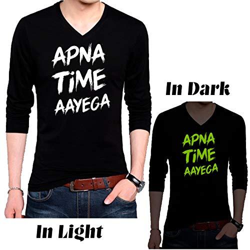Wild Thunder Men Cotton Night or Dark Glowing Apna Time Aayega Printed Glow in Dark T Shirt