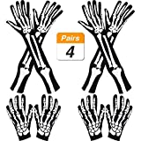 Lvcky 2Paar Halloween lang Arm Skelett Handschuhe und 2Paar Skelett kurz Handschuhe für Halloween-Kostüm Cosplay Party