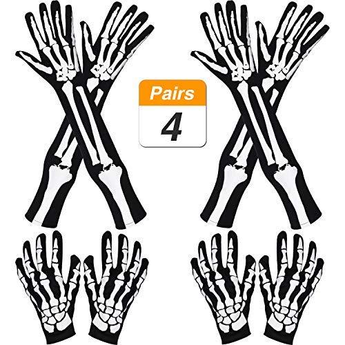 Lvcky 2Paar Halloween lang Arm Skelett Handschuhe und -