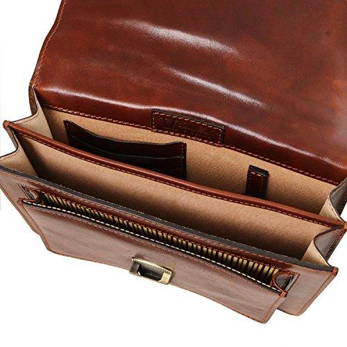 Tuscany Leather Eric Borsello in pelle a tracolla Miele Nero