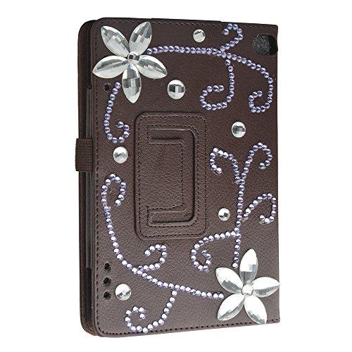 Evtech(tm) Rhinestone-Kristallblumen Glitter Fashion Style Brown Fall Dual View-Folio-Kasten mit Schlaf / Wach-intelligente Abdeckung für Kindle Fire HD 7 Tablet (Mädchen Kindle Fire Fällen)
