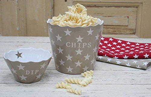 Krasilnikoff - Snackschale, Knabberschale - Chips - mit Sternen - Farbe: Taupe, Beige Star - Keramik