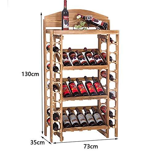 35 Flasche Wein Kühler (MJK Weinflaschenständer, Massivholz 35 Flaschen Wohnzimmer Große Flaschenständer Holzfarbe, Bar Restaurant Home Weinkühler, Weinständer)
