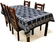 BLOCKS OF INDIA Hand Block/Batik Printed Cotton Rectangular Table Cloth for 6 Seater Dining Table (60 Inch X 9