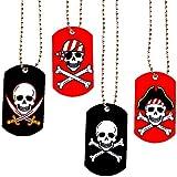 German Trendseller® - 4 x colliers de pirates┃Pirate Party ┃collier avec pendentif crâne┃petit cadeau┃ l'anniversaire d'enfant