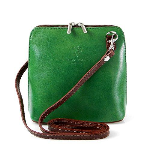 ebe97a2041b3b Vera Pelle Handtaschen Italien Echt Leder Schultertasche Frauen Damen Tasche  Handtasche Ital Bag Grün Braun Plain