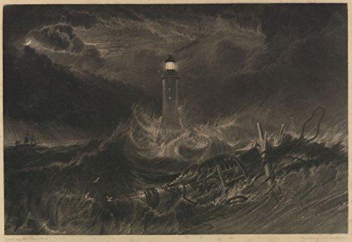 Das Museum Outlet-Eddystone-Leuchtturm, 1824, gespannte Leinwand Galerie verpackt. 29,7x 41,9cm