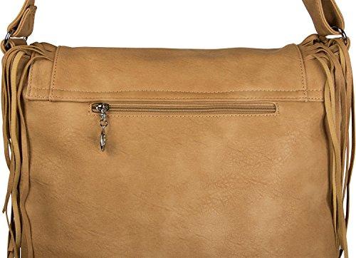 styleBREAKER borsa a tracolla con frange in stile etnico, borsa da spalla, borsetta, borsa, donne 02012188, colore:Crema-Bianco Cammello