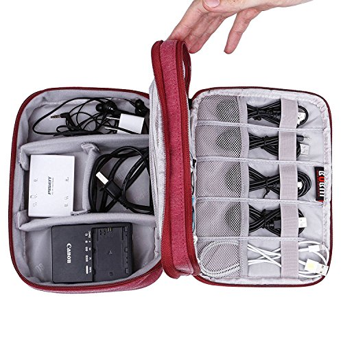 BUBM Universal Double Layer Tragetasche Gear Org Anizer für USB Kabel Batterie Telefon Ladegerät Fall Reise Organizer Gepolstert Elektronische Laptop Adapter Fall rot