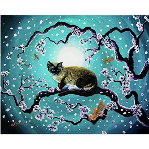 Meaeo 5D Katze Diamant Malerei Kreuzstich Voll Runde/Quadratmeter Diamant Stickerei Tiere Kits Bild Von Strass Mosaik Wohnkultur, D-40 * 50Cm D40 Kit